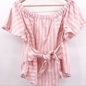 Topshop Tops - TopShop BP. XL Pink White Top with Tie